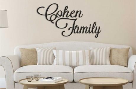 שלט מעוצב עם שם המשפחה באנגלית