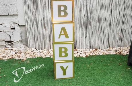 קוביות פי וי סי עם כיתוב דמוי מראה BABY