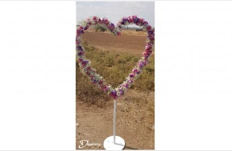 מעמד לב עם פרחים אמיתיים - עיצוב - פרחי כרמי בית עריף