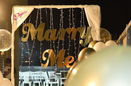 "MARRY ME גובה 40 ס""מ דמוי מראה זהב (קרדיט-לין אלגבלי)"