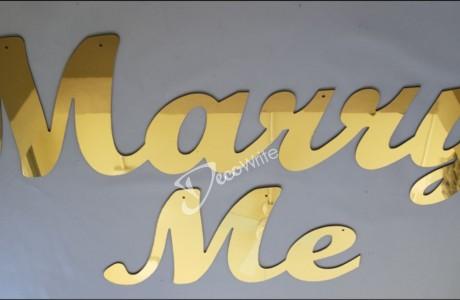 """MARRY ME לוקובונד דמוי מראה זהב גב מתכת עובי 3 מ""""מ"""